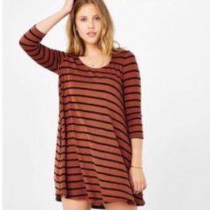 BDG Black & Brown Striped Swing Dress